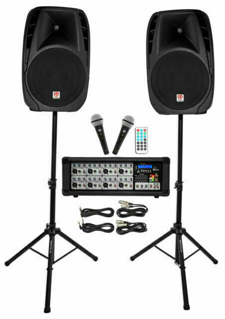 """Rockville RPG2X15 Package PA System Mixer/Amp+15"""" Speakers+S"""