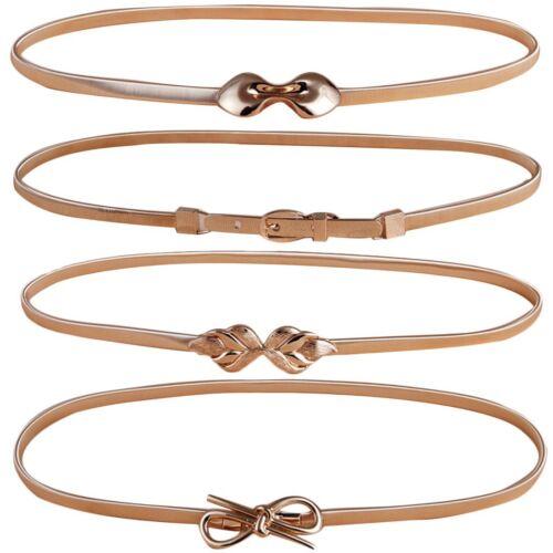 kilofly 4pc Women/'s Gold Metal Thin Skinny Stretch Cinch Belt Fashion Waistband