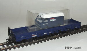 Marklin-84694-2-ejes-Vagon-plataforma-baja-VW-LT-ALMAC-ESCALA-H0-emb-orig