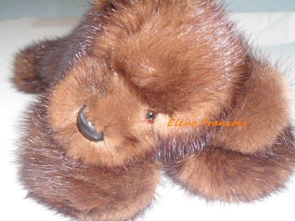 Teddybär Nerz Bär kuschelweich aus echtem Nerz mit Gelenke NEU schlafend
