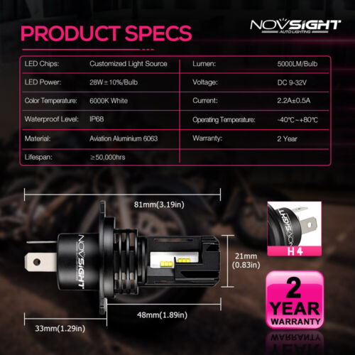 NOVSIGHT Motorcycle H4 LED Headlight Bulbs 28W 5000LM Lamps 6000K White Beam UK