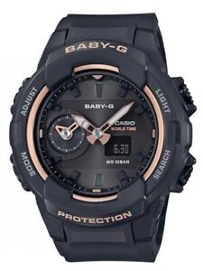 Casio Baby-G * BGA230SA-1A Dual Time Black & Rose Gold Watch Women COD PayPal