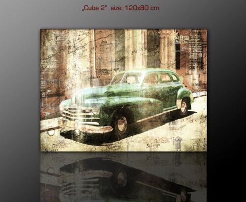 120x80cm Leinwandbild Havanna Cuba 60er Jahre  Retro Lounge Old Car stilvoll