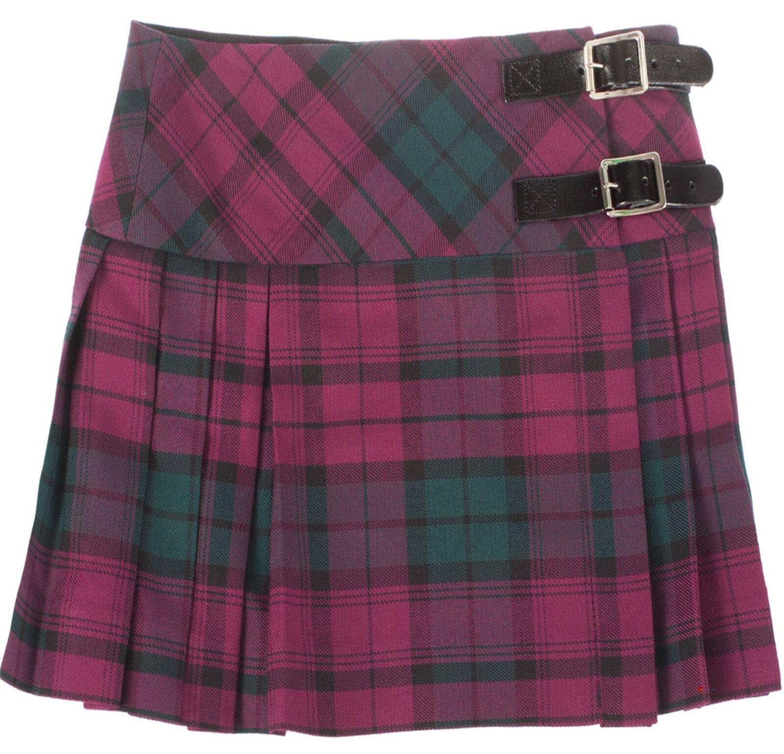 Girls Pure Wool Billie Kilt Skirt in Lindsay Tartan