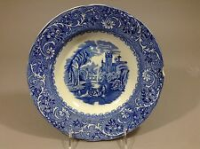 Antique Staffordshire blue Transferware Priary pattern Rhine plate 19c