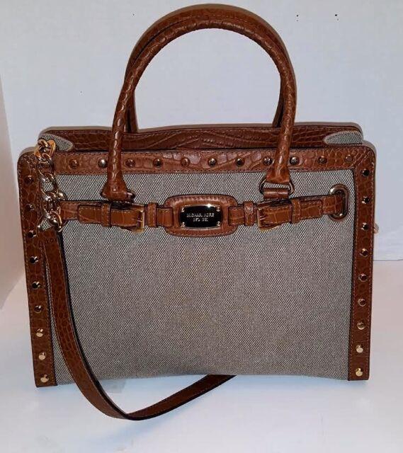 e9a18c4df373 Michael Kors Hamilton Studded Large East West Tote Hemp Tan Satchel Handbag  NWT