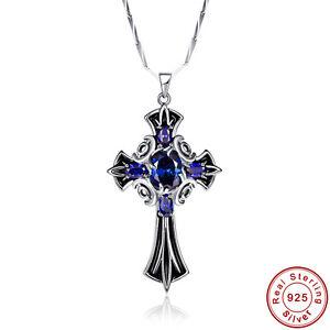 8-35CT-Tanzanite-925-Sterling-Silver-Caballero-Escudo-Cruz-Unisex-Colgante-Collar