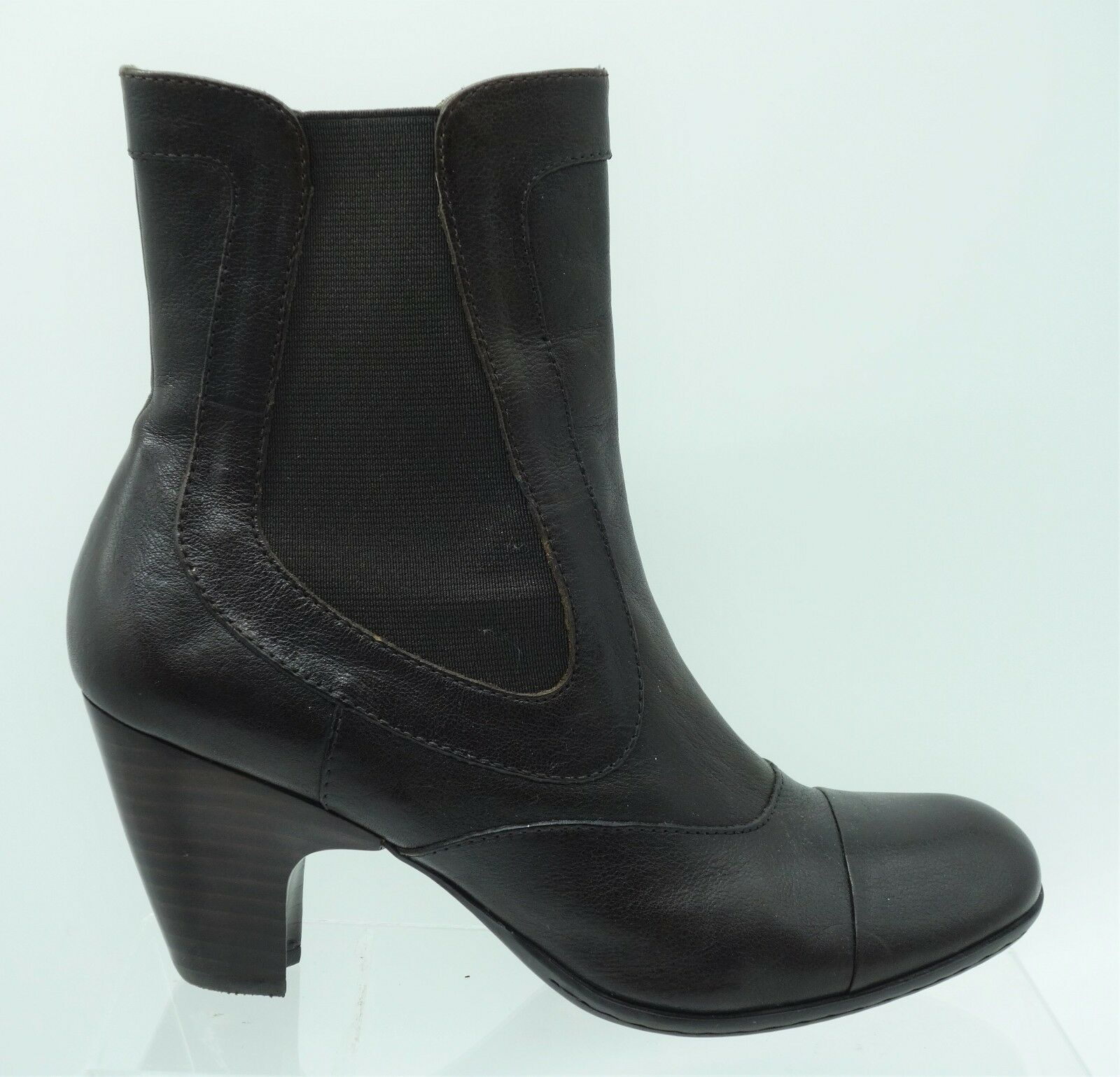 Born Brown Leather Chelsea Tall Ankle Mid Calf Pull On Boots Women's 7.5   38.5