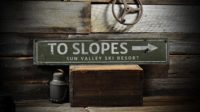 Slopes Wood Sign, Ski Arrow Sign -Distressed Wooden Sign ENS1002004