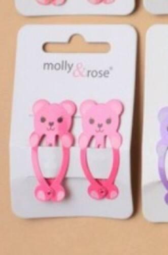 Girls Teddy Bear Sleepie Snap Clips Grips Slides Kids Hair Accessories Gift