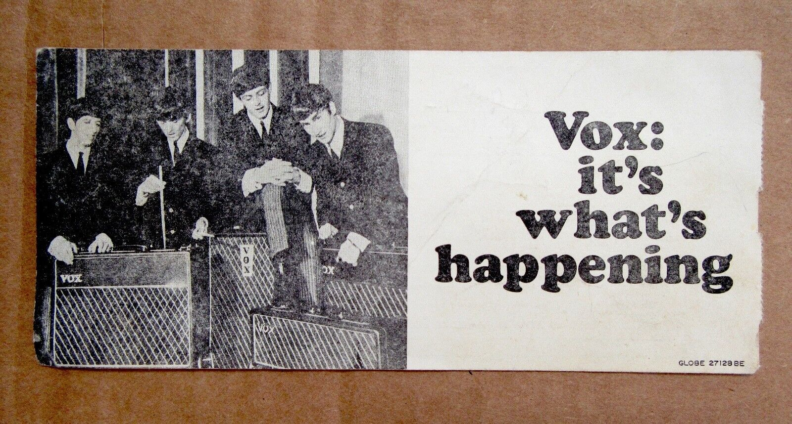 1965 - 1970 Vox Beatle Guitar or Bass Warranty Card Hang Tag