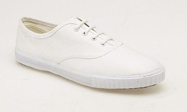 5eb124f25b0 DEK Junior 4 Eyelet Classic School Plimsolls White Size UK 5 EU 38 ...