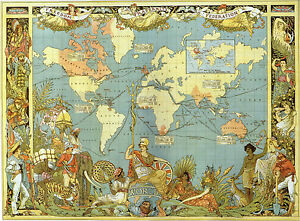 Vintage style map of the world 1886 victorian british empire vbm01 image is loading vintage style map of the world 1886 victorian gumiabroncs Images