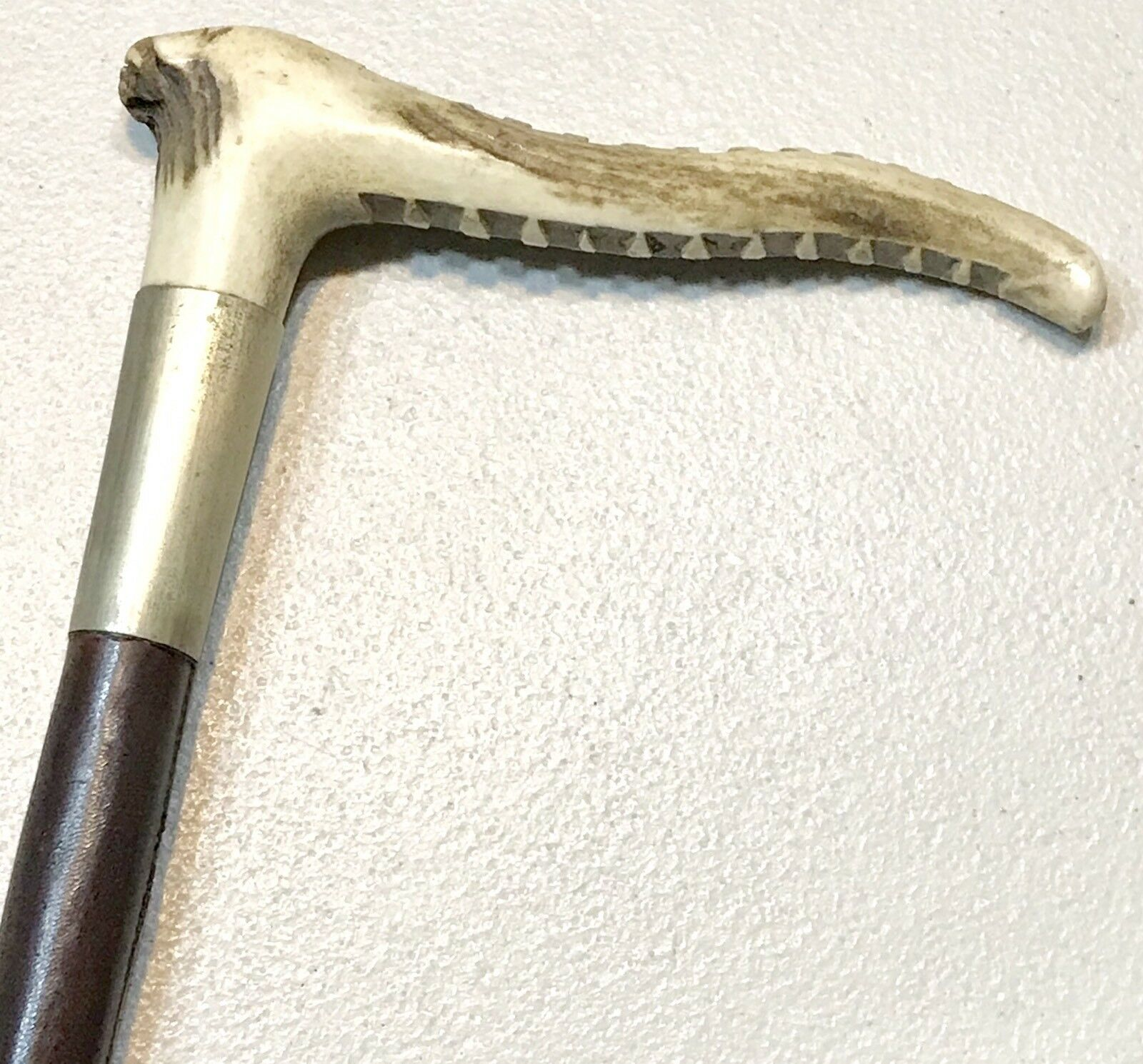 Vintage Antique 19C Antler Stag Handle Leather Wrapped Horse Bull Crop Whip Old