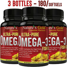 Ultra-Pure Omega 3 Fish Oil EPA, DHA - Maximum Strength, Burpless, Non-GMO
