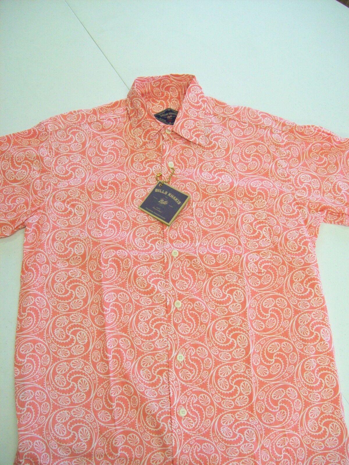 Bills Khakis Cotton Beach Shirt Short Sleeve Sport Shirt NWT Small