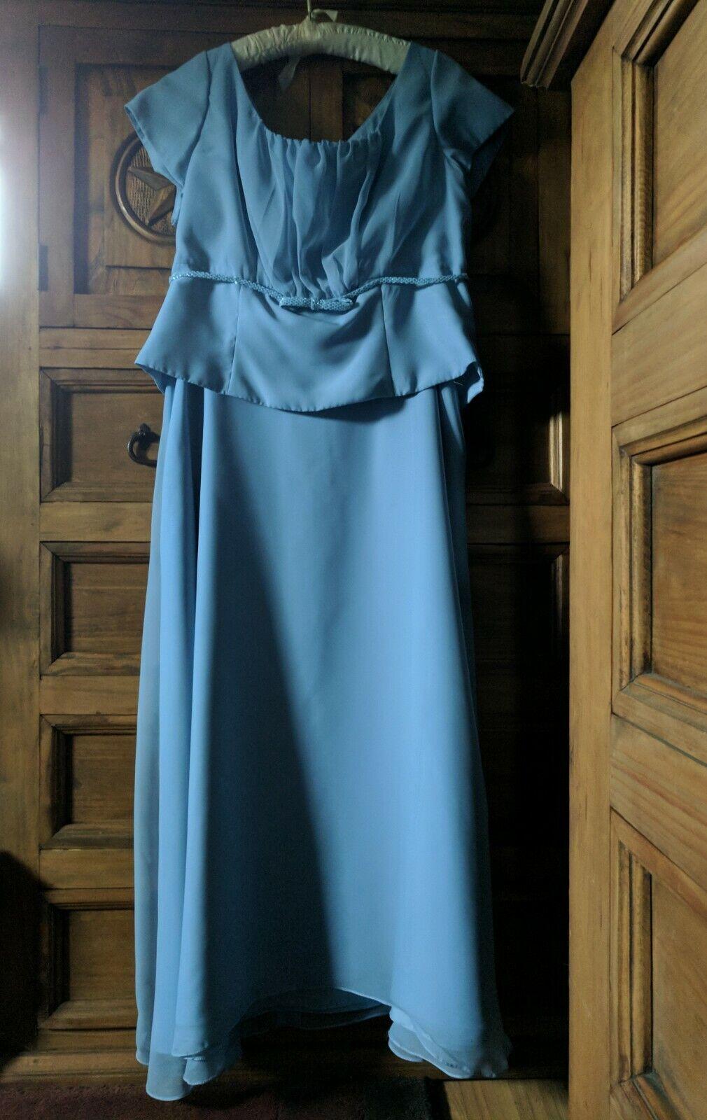 Eden Bridals Mother of the Bride Long Skirt & Top Asymmetrical Hem Size 18 Blue