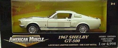 RARE Ertl 1 18 1967 Ford Shelby Mustang GT 500 WHITE blueE- 1 4998
