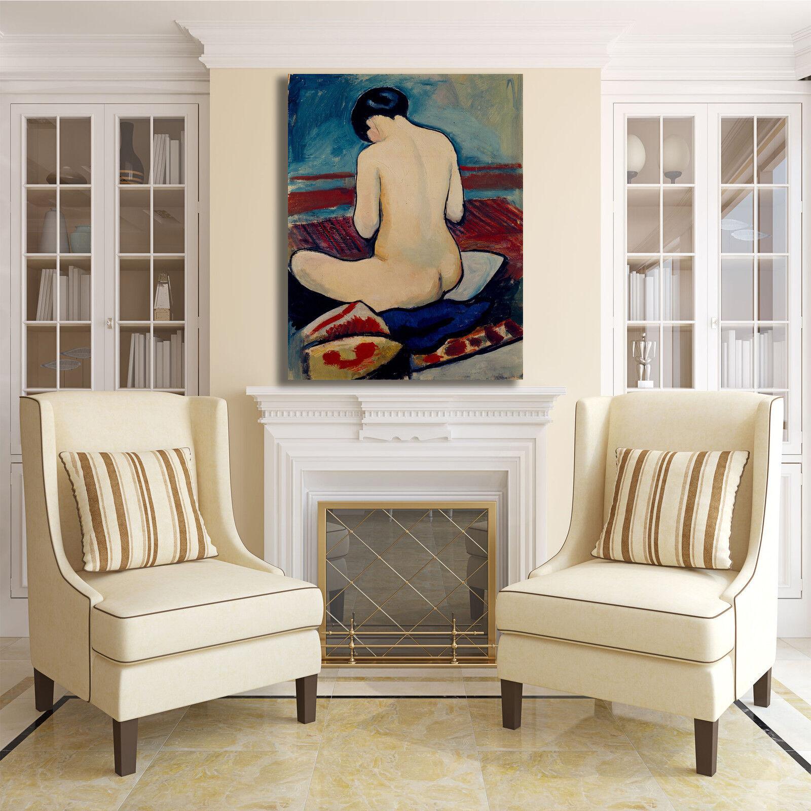 Macke seduto quadro nudo con cuscino quadro seduto stampa tela dipinto telaio arRouge o casa a046d0
