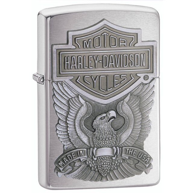 Zippo Harley Davidson Chrome Lighter With Emblem, Item 200HD.H284, New In Box