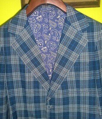 Mens Mid Century Mod Vintage Loud Plaid Jacket Blazer Size 38 Lined Wide Lapels
