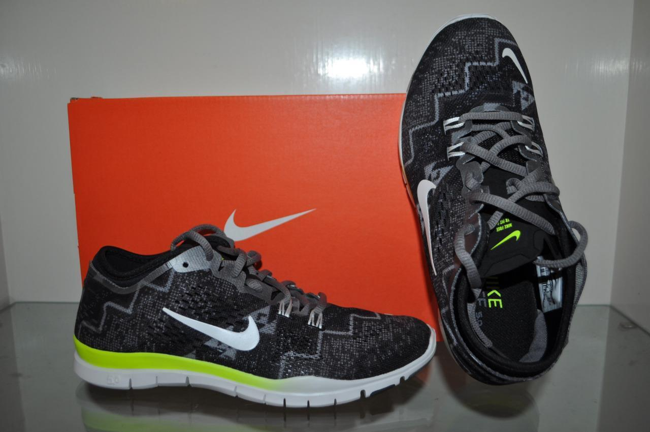 Nike Women's Free 5.0 TR Fit 4 Print 629832 008 Black/Grey/Yellow NIB See Sizes