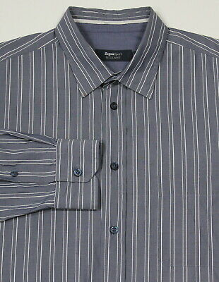 * Zegna Sport * Regular Fit Blu Scuro Righe Cotton-silk Abito Camicia ~ Medio