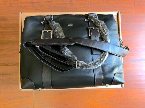 Gina B Large Black Genuine Leather Laptop Tote Bag NEW