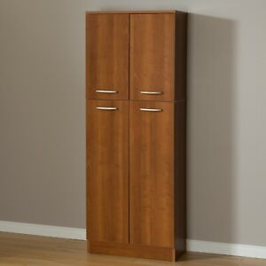 Details About Tall Pantry Cabinet Cupboard 4 Door 5 Shelf Storage Garage Kitchen Country Pine