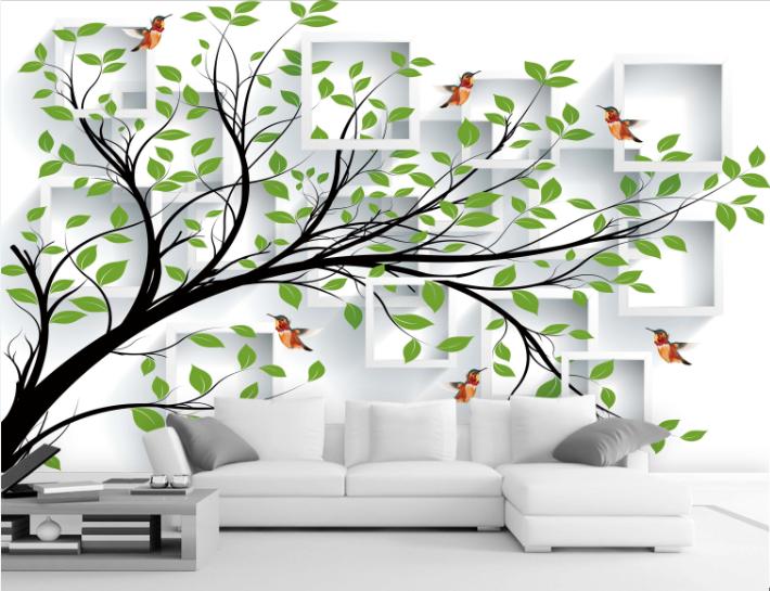 3D Grünes Blatt Vogel 7 Tapete Wandgemälde Tapete Tapeten Bild Familie DE Summer | Einfach zu bedienen  | Verschiedene Stile  | Praktisch Und Wirtschaftlich