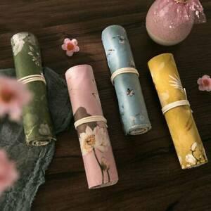 Vintage-Flower-Pencil-Case-Bag-School-Canvas-Roll-Pouch-Makeup-Brush-Storage-UK