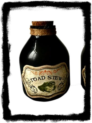 Primitive Vintage Look Witch ``Glass Bottle` Toad Stew` `Wicca` Halloween