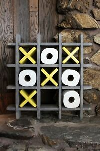 Details about Bathroom Tic Tac Toe - Made to order - Toilet paper holder -  Toilet paper Tic