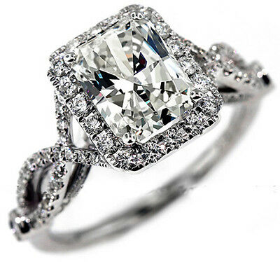 Nice Women's 925 Silver Oblong White Sapphire CZ Paved Wedding Ring Size 5-11