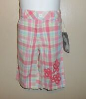 Flapdoodles Toddler Girls Adjustable Waist Plaid Clam-diggers Pink 3t/3