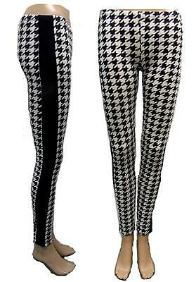 Black & White Dogtooth Check Stretch Fit Leggings With Black Side Panels