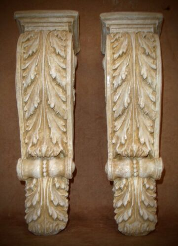 Antique Finish Shelf Acanthus leaf Wall Corbel Sconce Bracket Home Decor Pair