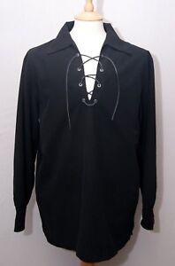 """Agressif Broadsword En Polyester Noir écossais Jacobites Ghillie Kilt Shirt S 38"""" 97 Cm-afficher Le Titre D'origine"""