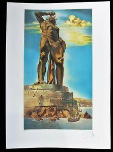 SALVADOR-DALI-lithograph-COLOSSE-DE-RHODES-HAND-SIGNED-Arches-paper