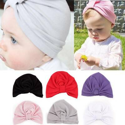Toddler Baby Turban Hat Lovely Ruffle Newborn Elastic Cotton Beanie Cap Knot