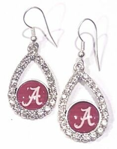 University of Alabama Solvar Rhodium Plated Enamel Tear Drop A Earrings
