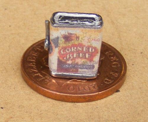 Échelle 1:12 vide Corned Beef TIN /& Key tumdee Maison De Poupées Cuisine Nourriture Accessoire