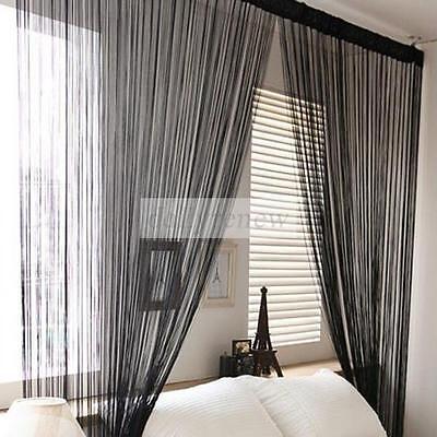 New Solid Line String Window Curtain Tassel Door Room Divider Scarf Valance 1x2M