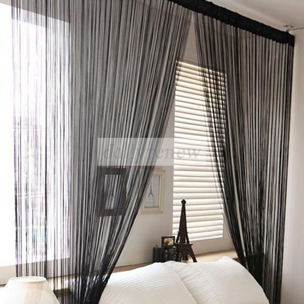 New Solid Line String Window Curtain Tassel Door Room Divider Scarf Valance 1x2M