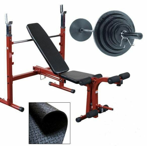 Best Fitness BFOB10SET Olympic Folding Weight Bench w  200 lb set and mat