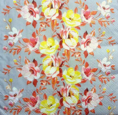 4 Single Lunch Paper Napkins for Decoupage Party Craft Vintage Floral Folk z//64