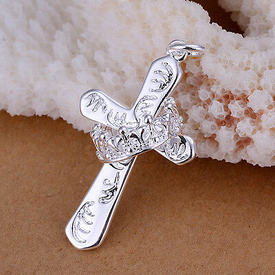 King's Crown Big Cross Silver Plated Necklace Pendant JW1409 MA