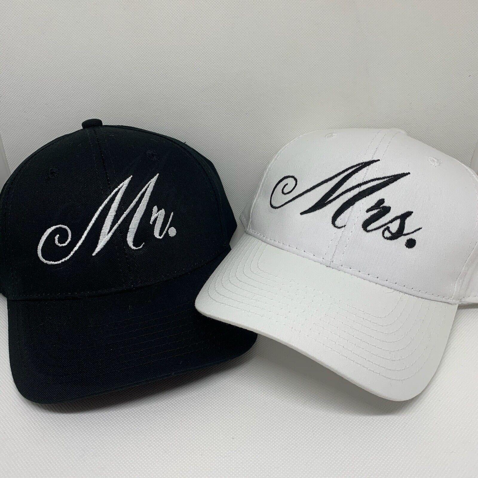 Mr. and Mrs. SET Embroidered Hats Bridal Shower gift Bride Groom hats
