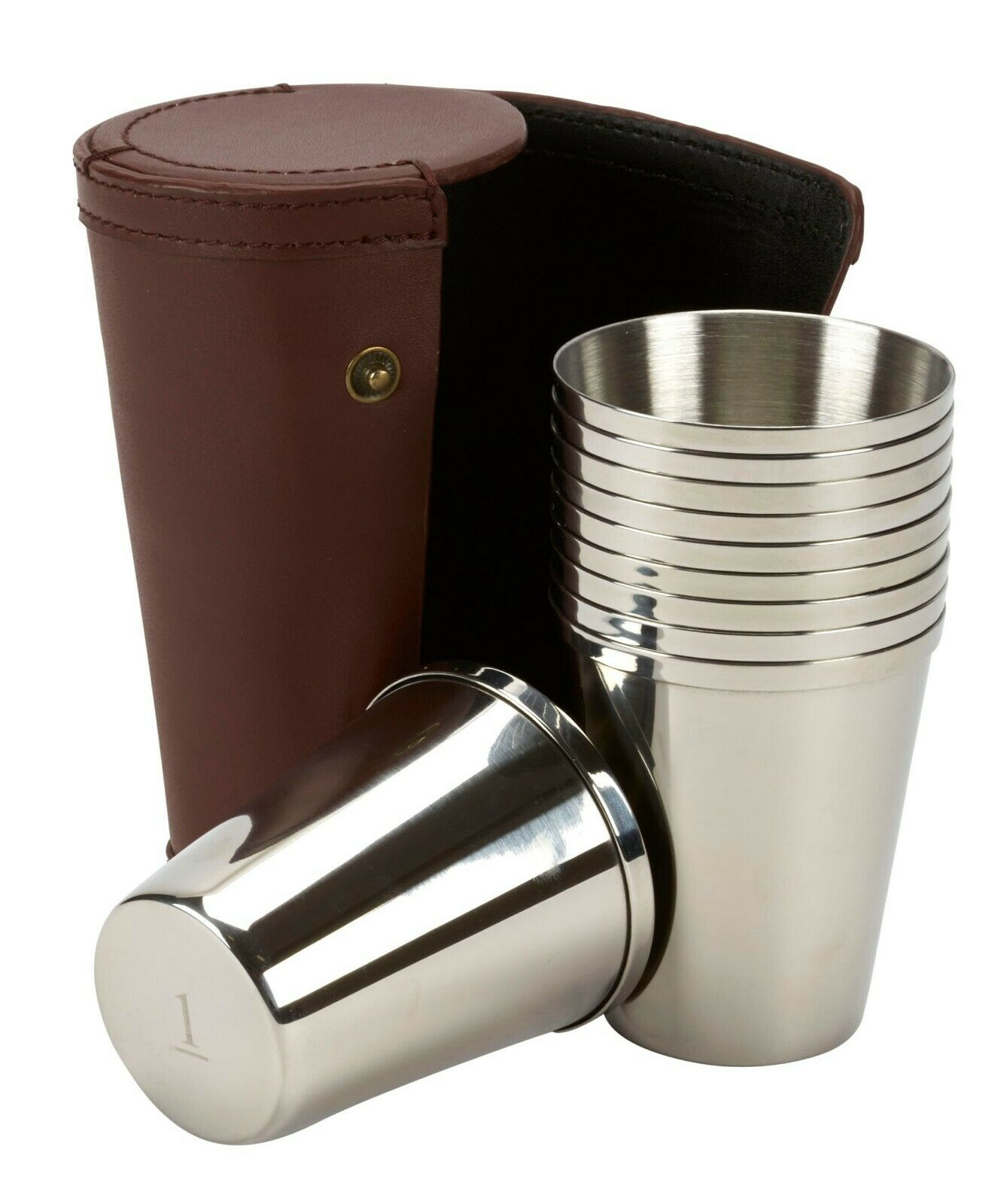Peg Finder  ten 4oz stainless steel tumblers in a leather case, game shooting