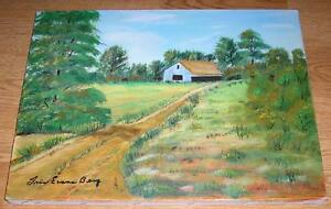 VINTAGE-FOLK-ART-PRIMITIVE-NAIVE-SUMMER-AUTUMN-SAND-PATH-HOUSE-TREE-OIL-PAINTING